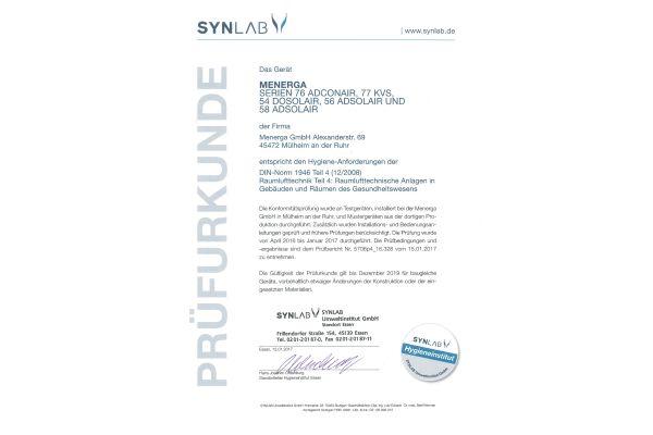 Das Bild zeigt die Menerga-Prüfurkunde vom Hygieneinstitut Synlab.