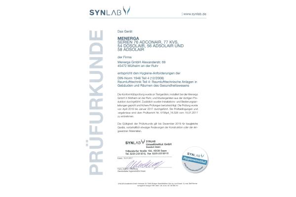 Zertifizierung von Menerga-Wärmerückgewinnungssystemen