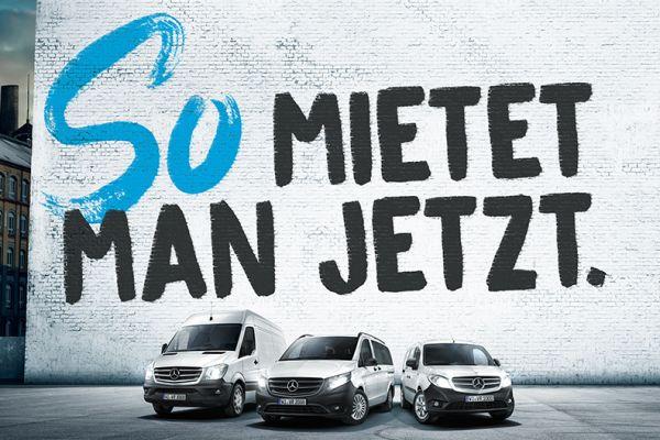 Werbebild für Mercedes-Benz Van Rental.