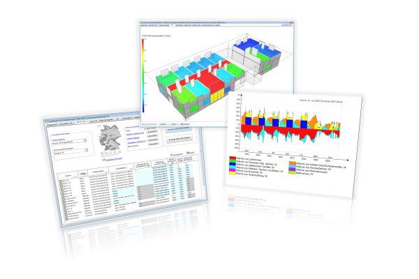 Drei Screenshots der Software IDA ICE.
