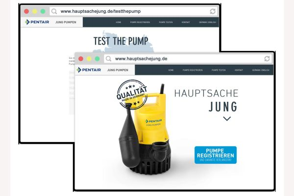 Das Bild zeigt einen Screenshot der Website hauptsachejung.de.