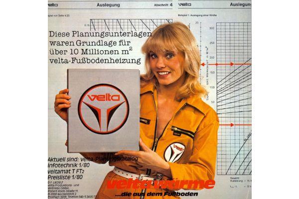 Eine Werbeanzeige für Flächenheizungen aus den 80ern.