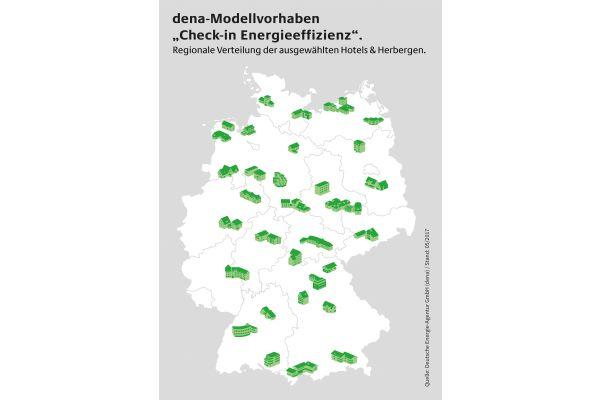 Die Deutschlandkarte zeigt die Verteilung der ausgewählten Herbergen & Hotels am dena-Modellvorhaben