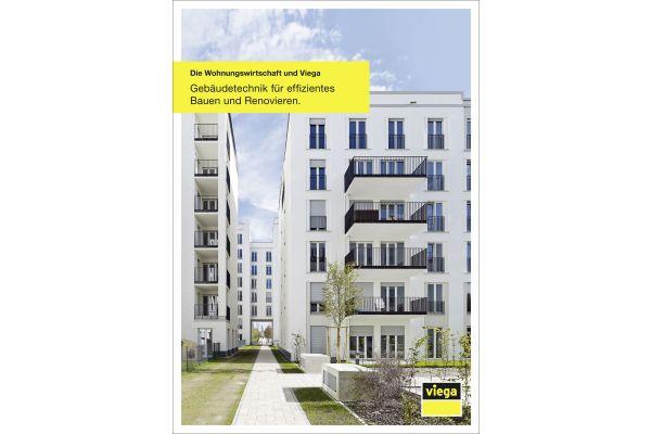 Die Titelseite des Prospekts für die Wohnungswirtschaft von Viega.