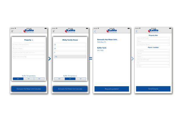 Die Konfigurations-App auf vier Smartphone-Bildschirmen.