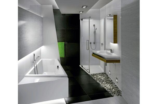 Produktserien bieten den Vorteil einheitlicher Formgebung und damit Stilbildung im Bad, wie hier anhand der