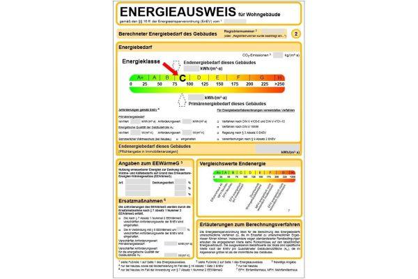 Energieausweis nach der EnEV 2014.