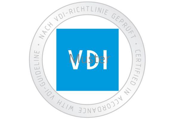 Das Bild zeigt das VDI-Prüfzeichen.