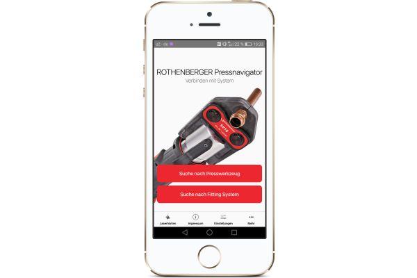 Screenshot der Rothenberger-Pressnavigator-App.