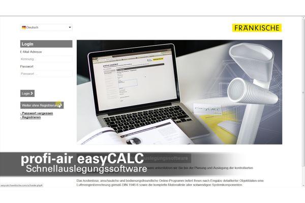 Screenshot der Startseite der Berechnungssoftware