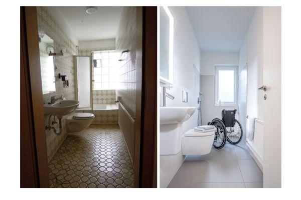 Gelungenes Beispiel der Verwandlung eines Schlauchbades (mit tragenden und daher nicht versetzbaren Wänden) in ein barrierefreies und pflegegerechtes Bad.