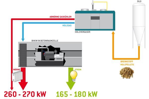 Die Grafik zeigt den Energiefluss der Kraft-Wärme-Kopplung mit Holzpellets in einem Holzpellet-BHKW.