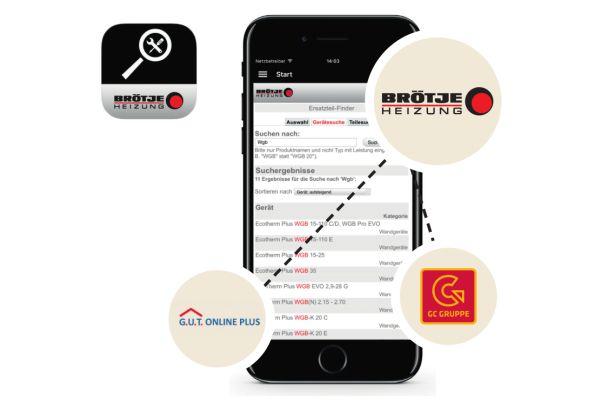 Screenshot der neuen Seite von Brötje für die Online-Ersatzteilbestellung.
