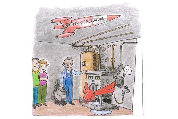 Zeichnung eines alten Heizkessels und eines Installateurs in einem Keller.