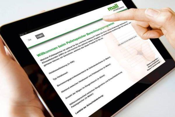 Das Bemessungsprogramm für Pelletspeicher wird auf einem Tablet-Bildschirm angezeigt.
