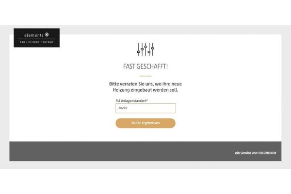 Screenshot des ELEMENTS-Heizungskonfigurators.