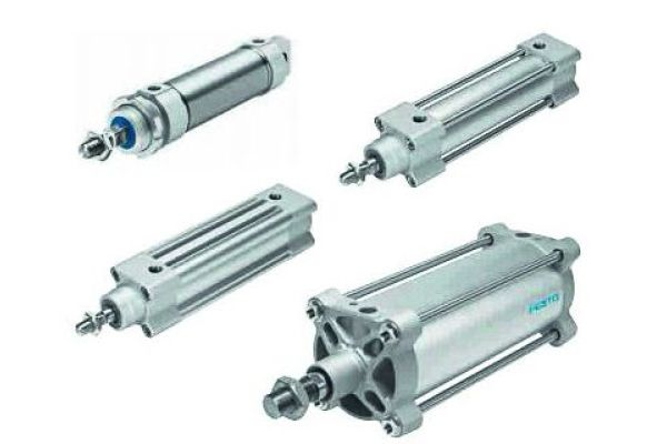 Vier pneumatische Antriebe.