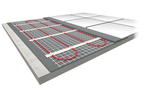 Grafische Darstellung einer elektrischen Fußbodenheizung.