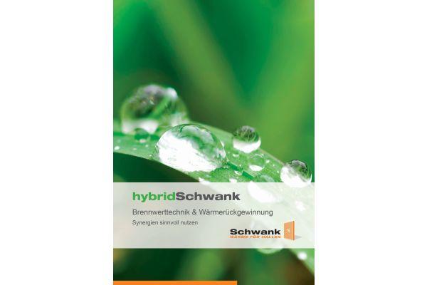 Cover der Schwank-Informationsbroschüre zum Thema Brennwertnutzung und Hybridanwendung für die Hallenbeheizung.