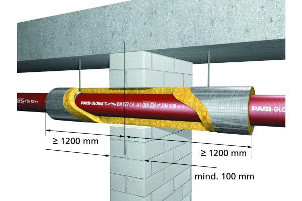 Geprüfte Rohrabschottung für waagerecht verlegte nichtbrennbare gusseiserne Abflussrohre mit ABP P-MPA-E-05-032 der Firma Saint-Gobain Isover.