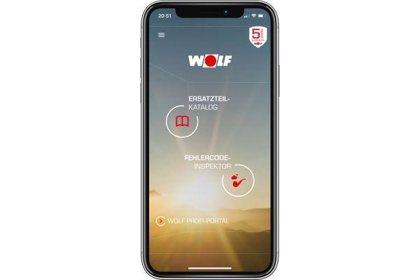 Screenshot des Startbildschirms der Service App von Wolf.