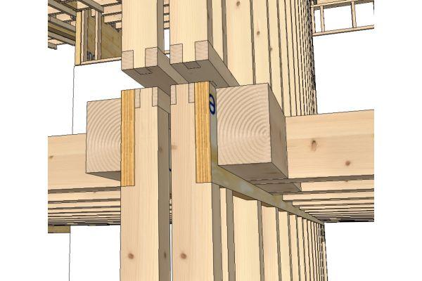 Zeichnung eines Stockwerksübergangs im  Mehrfamilienhaus