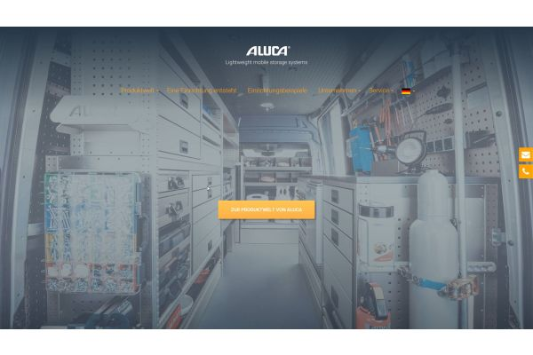 Screenshot von der Aluca-Website.