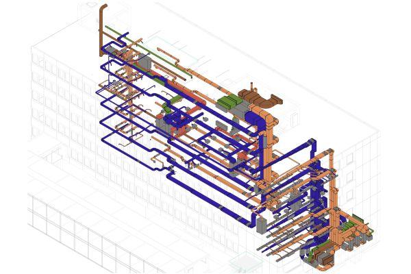Ein BIM-Modell eines Gebäudes.