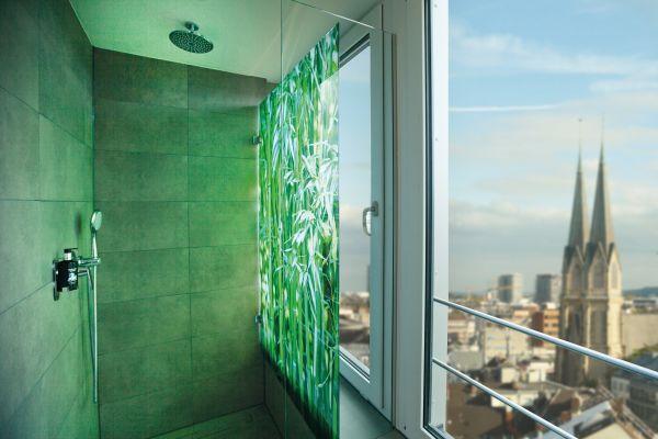 Clever gelöst: Eine Regenschauer-Dusche bietet höchstes Duschvergnügen im Tageslicht, der Nutzer ist dabei jedoch vor neugierigen Blicken von außen geschützt.