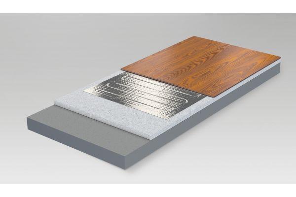Grafik des Aufbaus der elektrischen Fußbodenheizung