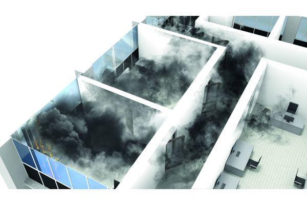 Die Grafik zeigt die Ausbreitung von Rauchgasen in einer Wohnung.