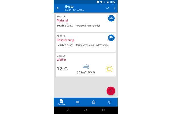 Das Bild zeigt einen Screenshot der pds-Software auf dem Handy.