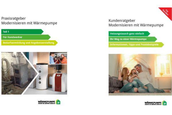 Titelseiten zweier Ratgeber zum Thema Modernisieren mit Wärmepumpen.