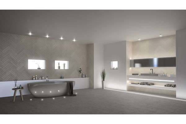 Das Bild zeigt die LED-Leuchten von dot-spot im Bad inszeniert.