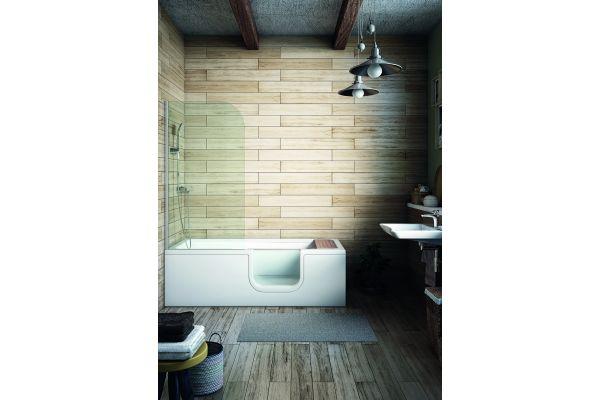 """Ist das Bad für eine Wanne und zusätzlich separater Dusche zu klein, bieten sich 2-in-1 Lösungen an. Eine Kombination aus Wanne und Dusche bietet beispielsweise die """"Conforma""""-Badewanne mit integriertem Duschbereich."""