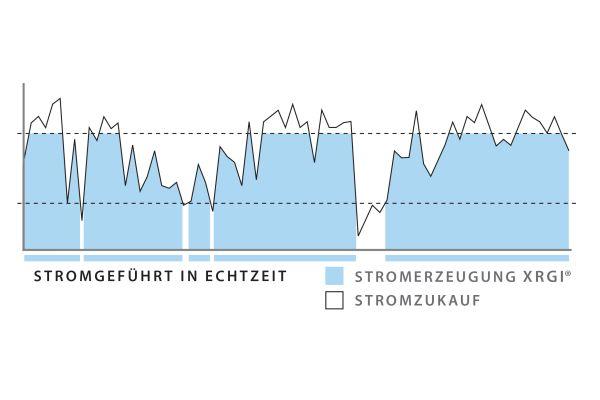 Die Grafik gibt einen Überblick über die Stromerzeugung eines