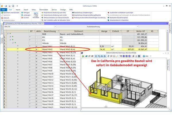 Screenshot eines BIM-Modells in der Software