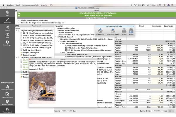 Screenshot aus dem Bieterclient
