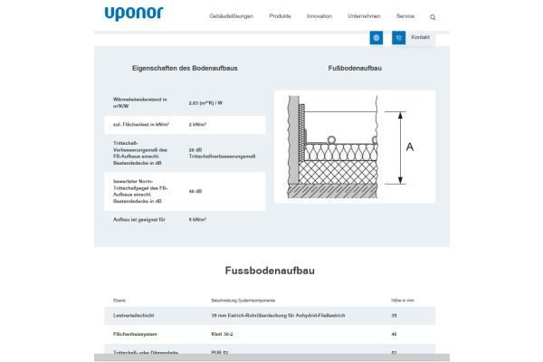Screenshot aus dem Uponor-