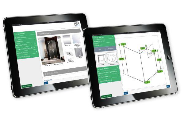 Das Bild zeigt Tablets mit der HSK Aufmaß-App.