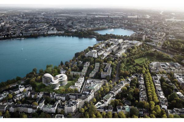 Die Außenalster in Hamburg aus der Vogelperspektive.
