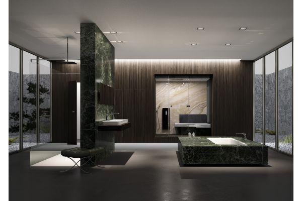 Das Bild zeigt ein Bad als Hommage an Mies van der Rohe.