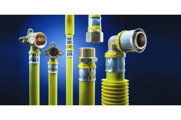 """Das """"alpex-gas""""-System vom Hersteller Fränkische Rohrwerke, hier in den Dimensionen 16 bis 32 mm, steht für absolute Erdgasdichtheit sowie schnelle und wirtschaftliche Installation."""