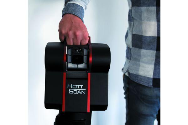 """Der 3D-Raumscanner """"HottScan"""" erfasst in weniger als zwei Minuten den kompletten Raum mit Bildern und Messpunkten. Daraus können ein kompletter 3D-Raum oder nur einzelne Maße erstellt und genutzt werden."""
