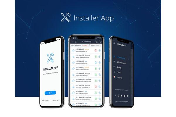 Die App für Smart Home Systeminstallateure von Fibaro auf drei Smartphone-Bildschirmen.