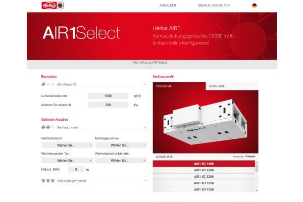 Screenshot des Online-Tools für Lüftungsgeräte