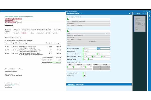 Screenshot aus einer Handwerkersoftware von pds.