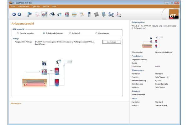 Screenshot der Ergebnisse einer bivalenten Wärmepumpenanlage mit Erdkollektor aus der Software