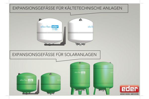 Portfolio der Eder-Expansionsgefäße für kältetechnische Anlagen und Solaranlagen.