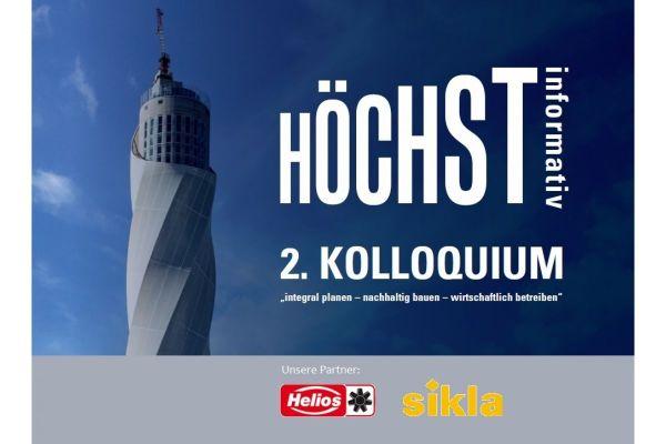 Der thyssenkrupp-Testturm und die Logos der Sponsoren des 2. Kolloquium des HeizungsJournal Verlags.